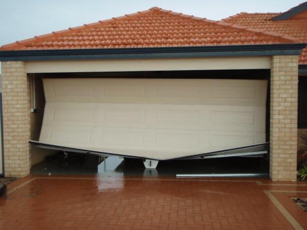 storm damage garage door